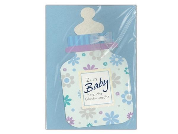 Ereigniskarte AvanCarte hellblau mit Babyschuhen
