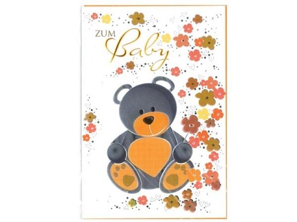 Ereigniskarte Borer Teddy silber-orange 11,5x17cm