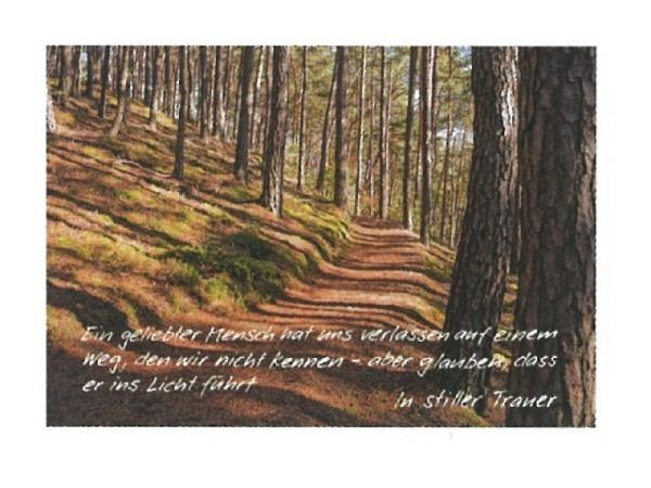 Trauerkarte Art Bula 12,2x17,5cm herbstlicher Waldweg