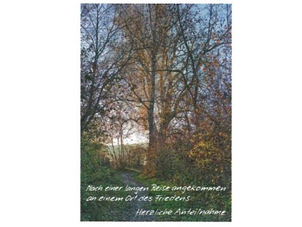 Trauerkarte Art Bula 12,2x17,5cm grosser Baum mit Abendrot