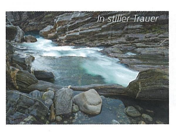 Trauerkarte Art Bula 12,2x17,5cm Fluss mit vielen Steinen