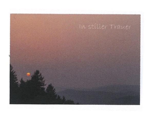 Trauerkarte Art Bula 12,2x17,5cm roter Mond in Abendrot