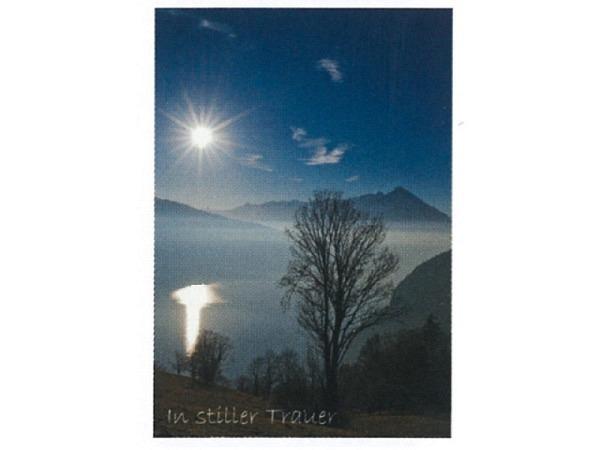 Trauerkarte Art Bula 12,2x17,5cm Seeblick mit Bergen