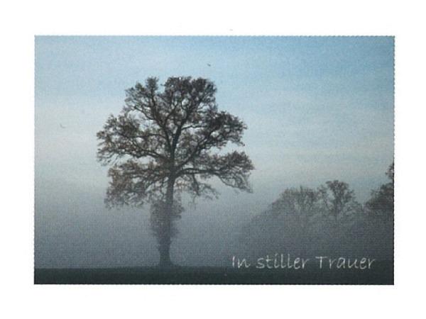 Trauerkarte Art Bula 12,2x17,5 Baum, Nebel,In stiller Trauer