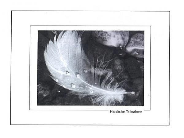 Trauerkarte Art Bula 13x18cm schwarz-weisse Feder