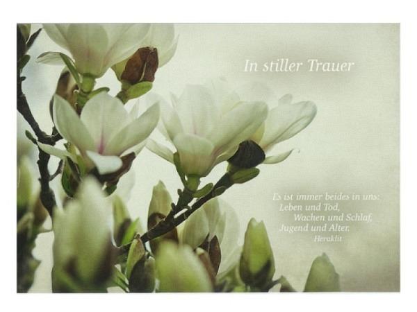 Trauerkarte Hartung weisse Blüten am Ast