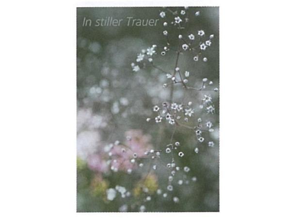 Trauerkarte Art Bula 12,2x17,5cm kleine weisse Blüten