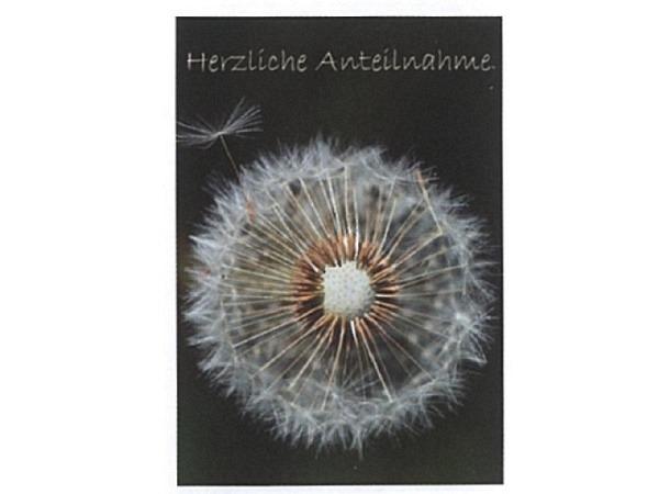 Trauerkarte Art Bula 12,2x17,5cm Pusteblume