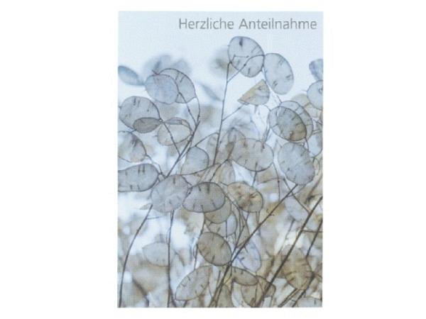 Trauerkarte Art Bula 12,2x17,5cm Blumenfeld