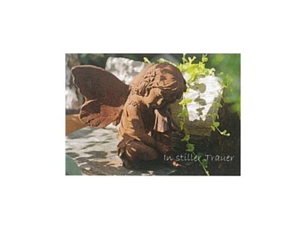 Trauerkarte Art Bula 12,2x17,5cm sitzender Engel im Garten