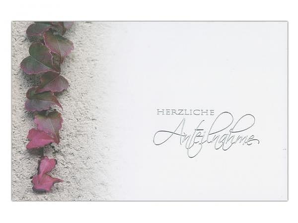 Trauerkarte Borer Efeu 17x11,5cm, Efeu-Strang an einer Haus