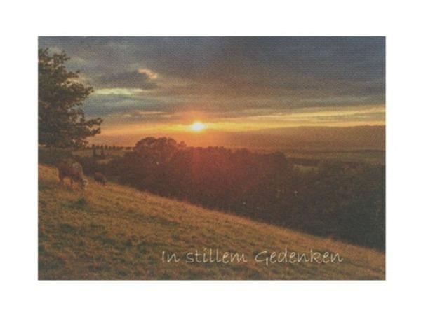 Trauerkarte Art Bula 12,2x17,5cm Sonnenuntergang
