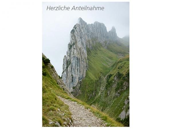 Trauerkarte Art Bula 12,2x17,5cm Laufweg auf Berge, weisse Doppelkar..