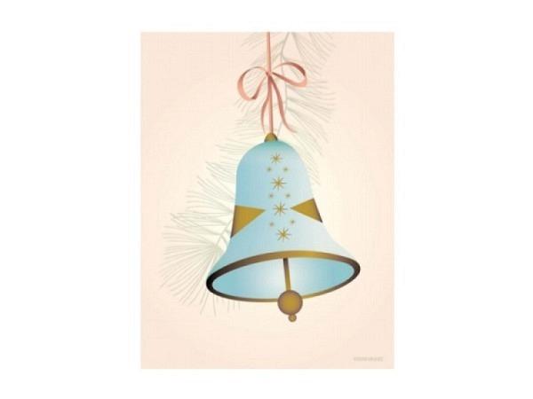 Karte Vissevasse Christmas Bell Blue A6 10,5x15cm