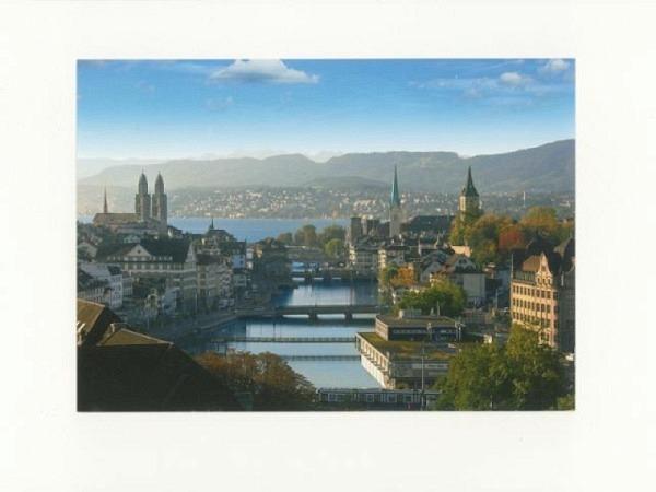 Doppelkarte Zürich A5 Original Fotografie mit Sicht auf Limmat und Z..
