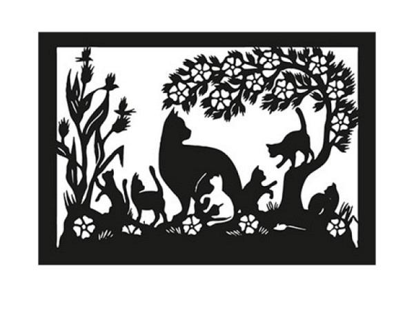 Karte Scherenschnitt schwarze Doppelkarte mit feinstem Silhouettenschnitt mit Katzen