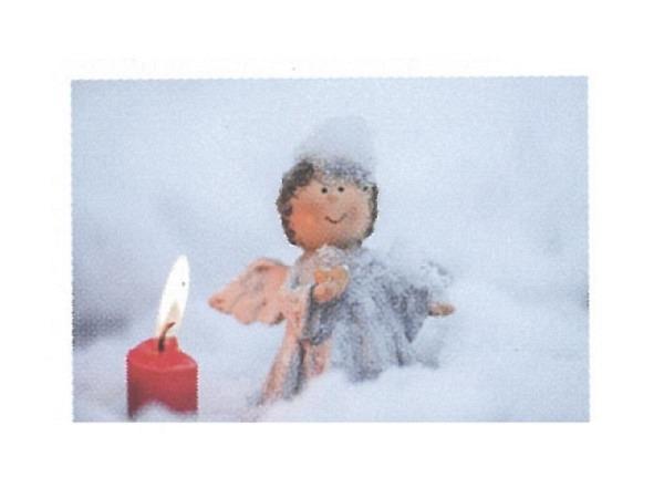 Karte Art Bula 10,5x7,4cm Engel im Schnee neben Kerze