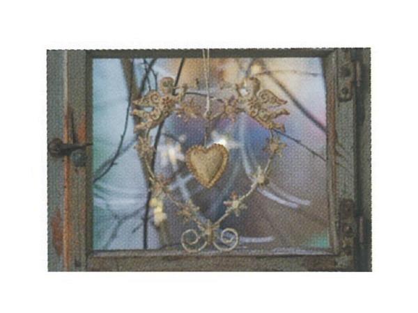 Karte Art Bula  mini Goldherz mit Engelkranz in Fenster