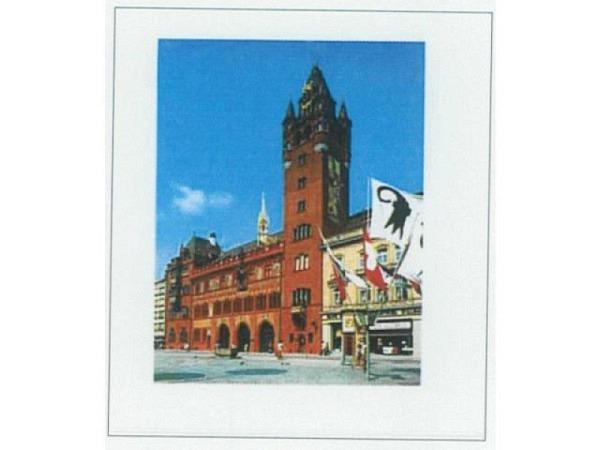 Karte Reiter Basel Rathaus mit wehenden Fahnen