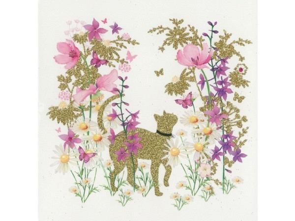 Karte Pictura Chat dans fleurs 15x15cm