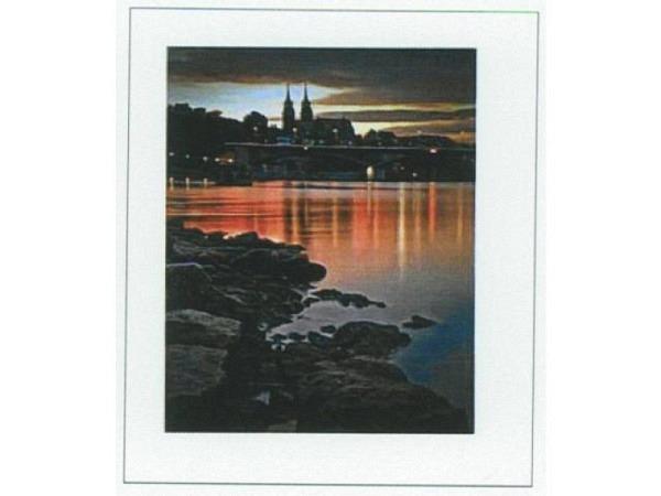 Karte Reiter Basel by Night mit Rheinufer im Vordergrund