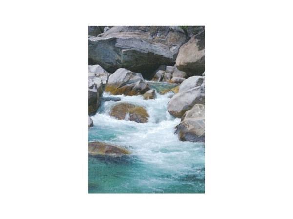 Karte Art Bula 12,2x17,5cm Bergfluss mit Felsen und  Wasser