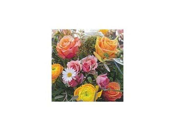 Karte Art Bula 12,2x12,2cm Rosenstrauss mit Gänseblümchen