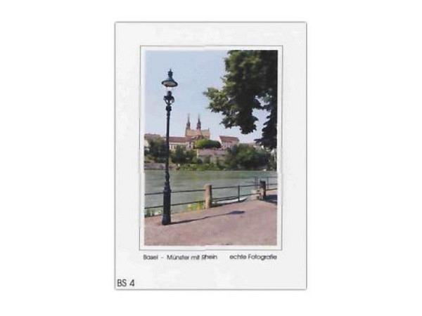 Karte Elite Cards Basel A5 Münster mit Rheinufer