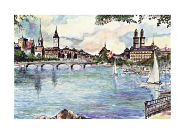 Karte Elite Cards Zürich A5 Blick vom See mit Segelschiffen