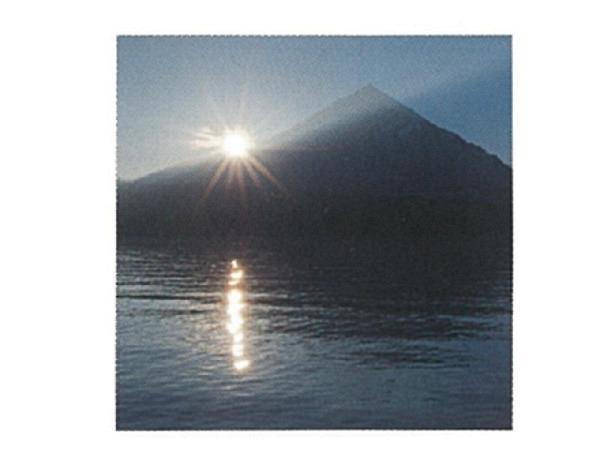 Karte Art Bula 12,2x12,2cm See und Berg in Abendsonne