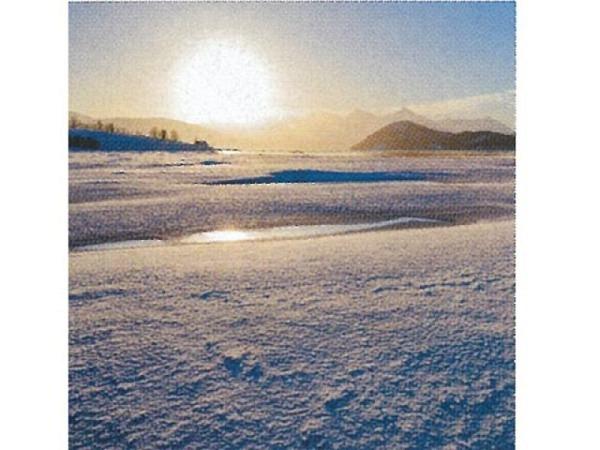 Karte Art Bula 12,2x12,2cm Sonnenaufgang über einer Schneelandschaft