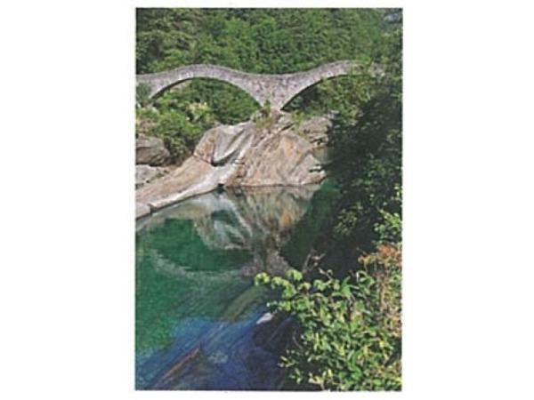 Karte Art Bula 12,2x17,5cm Brücke aus Stein mit Wald und See