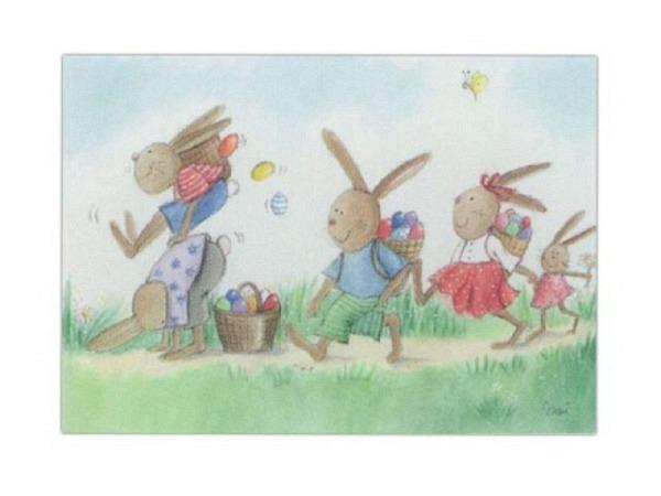 Karte Art Bula 12,2x17,5cm Ostern Hasen-Wanderung