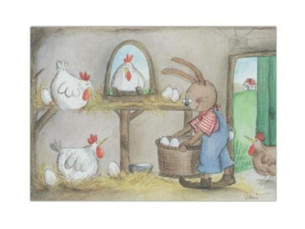 Karte Art Bula 12,2x17,5cm Ostern Hasen und Hennen