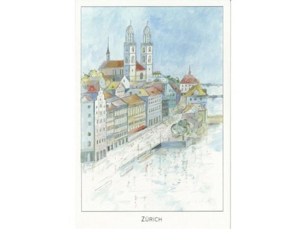 Karte ABC Städtekarte Zürich gemalt 12x17,5cm