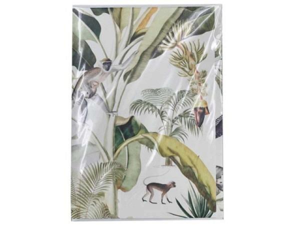 Karte Creative Lab Amsterdam Jungle 12x17,5cm, weisse Doppelkarte, bedruckt mit Affen und Vogel im Jungle