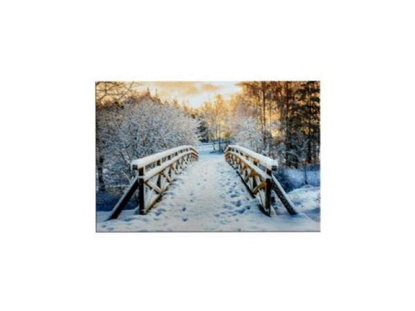 Karte ABC Winterkarte Schneemänner auf der Bank 12x17,5cm