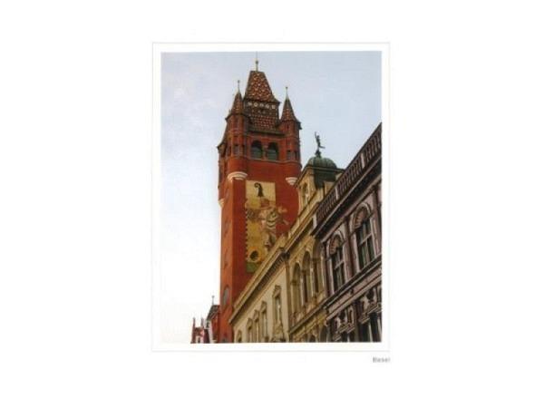 Karte Basel Rathausturm, Photographie, Photo auf weisse Artozpapier-..