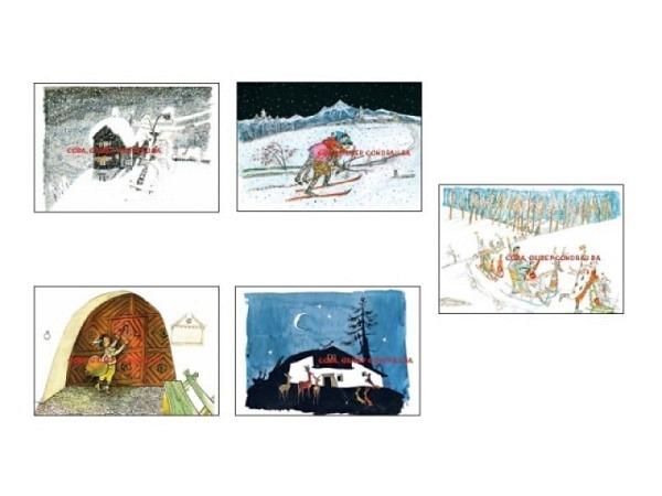 Kartenbox Carigiet Alois Wintermotive Schellenursli 5 Stk