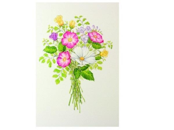 Karte Paula Skene 8er Set Blumenstrauss mit diversen Blumen