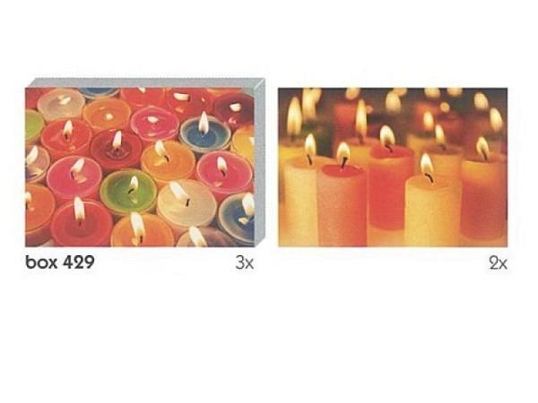 Kartenbox Art Bula 5er Set bunte brennende Kerzen