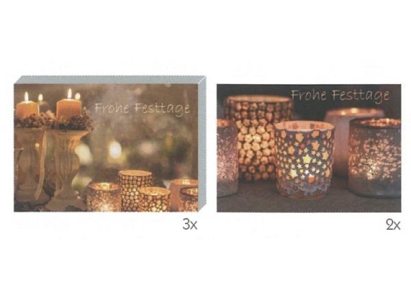 Kartenbox Art Bula 5er Set brennende Teelichter weihnachtlich