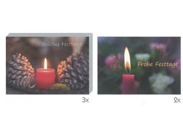 Kartenbox Art Bula 5er Set brennende rote Kerze