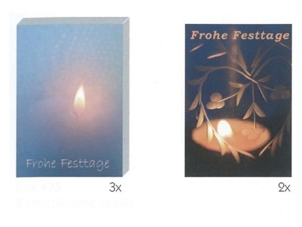 Kartenbox Art Bula 5er Set, 12,2x17,5cm brennende einzelne Kerze, Do..