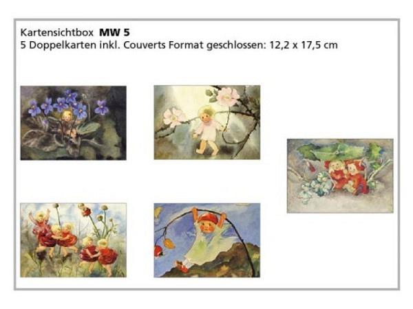 Kartenbox Mili Weber 5er Set Blumen weiss, gemalt