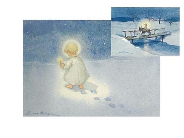 Kartenbox Art Bula 5er Set Engel auf Strommast
