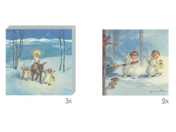 Kartenbox Art Bula 5er Set Engel gehen durch Wald