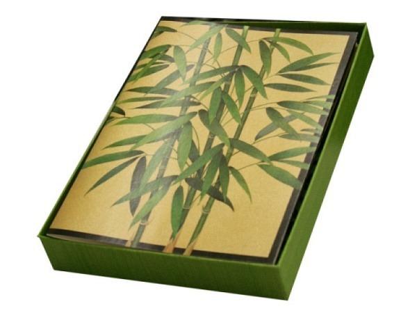 Karte Caspari 6er Set, Bamboo Trees, 10,5x14,8cm, 2 verschiedene Bambusmotive, auf schwarzen oder go