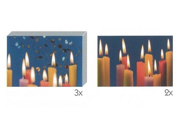 Kartenbox Art Bula 5er Set schmale bunte Kerzen brennend