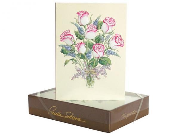 Karte Paula Skene Pink Edged Roses 8er Set 12,5x17cm